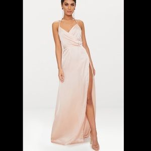 Pretty little thing lucid champagne silky maxi
